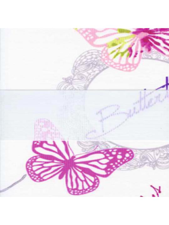 Кассетные шторы Зебра Benthin М Бабочки розовый
