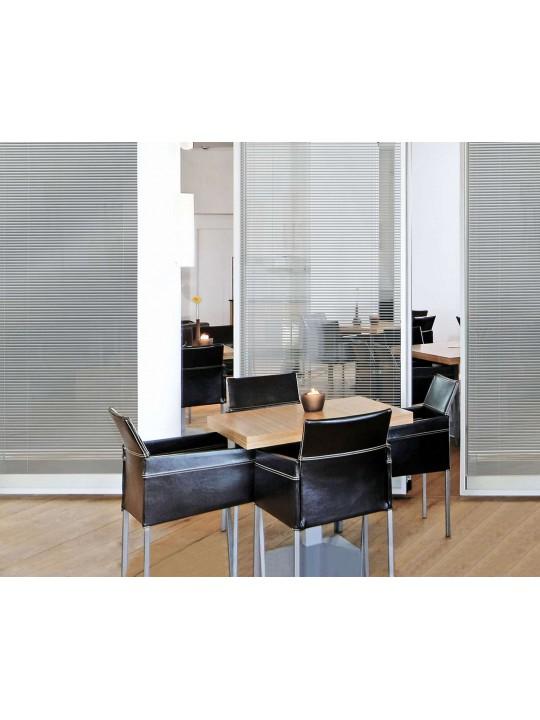 Межрамные горизонтальные жалюзи 25 мм темное серебро металлик