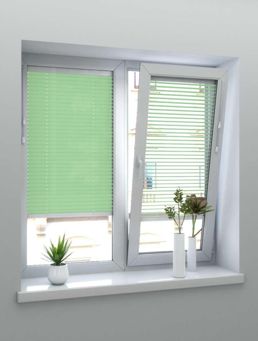 Горизонтальные алюминиевые жалюзи светло-зеленый