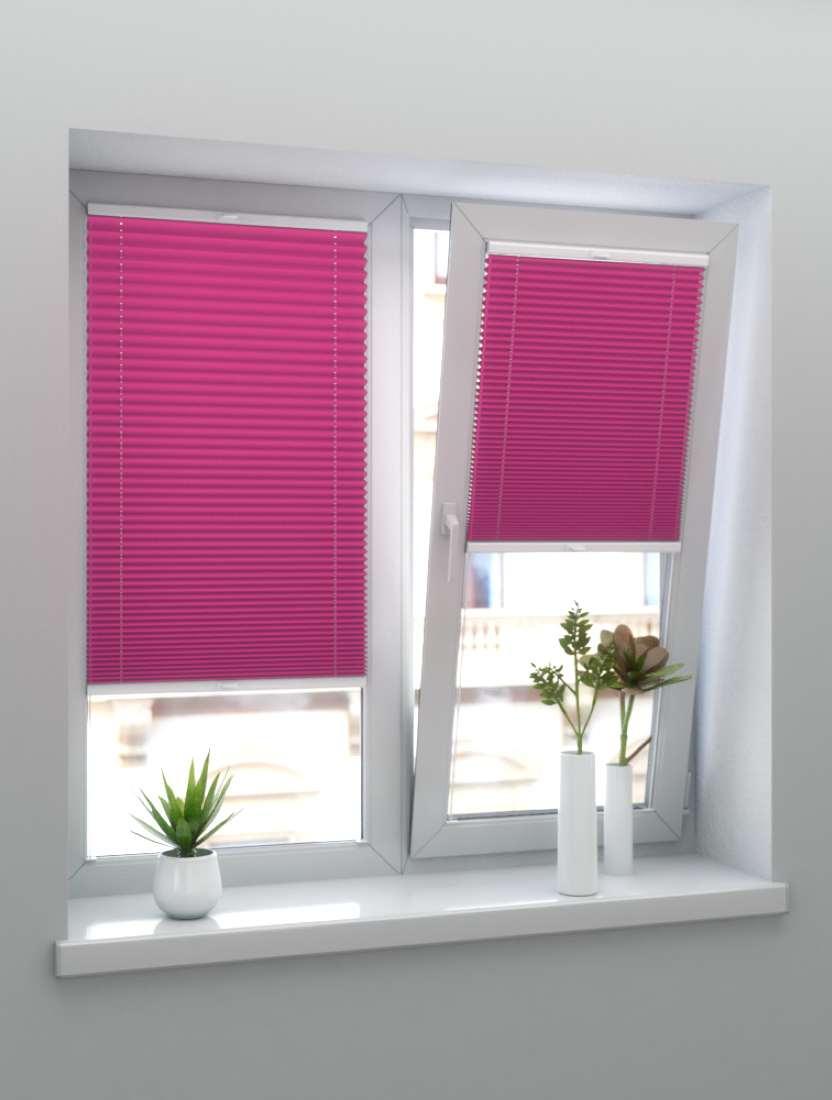 Штора плиссе тканевая Ноктюрн блэкаут розовый