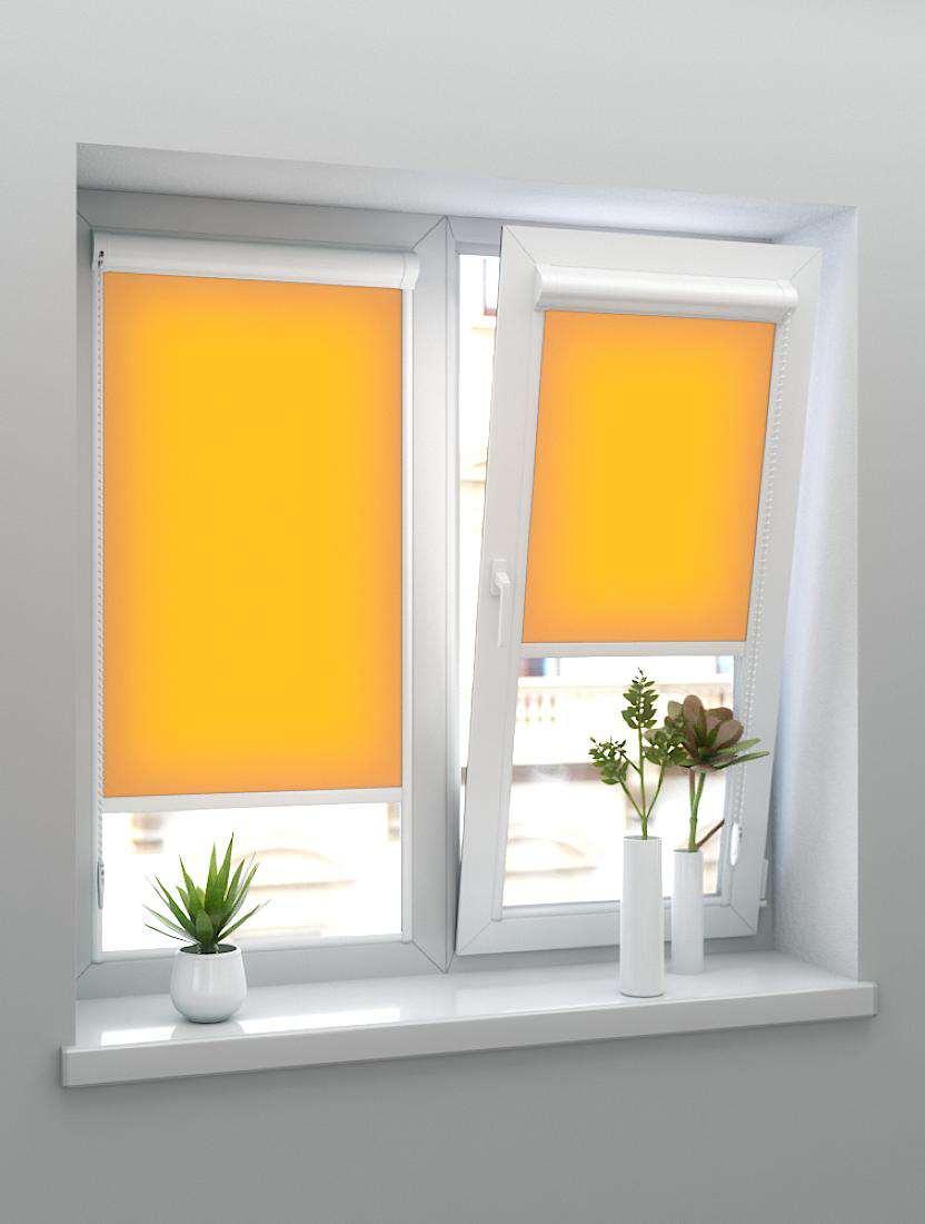 Рулонные тканевые жалюзи Уни-1 Альфа светло-оранжевые