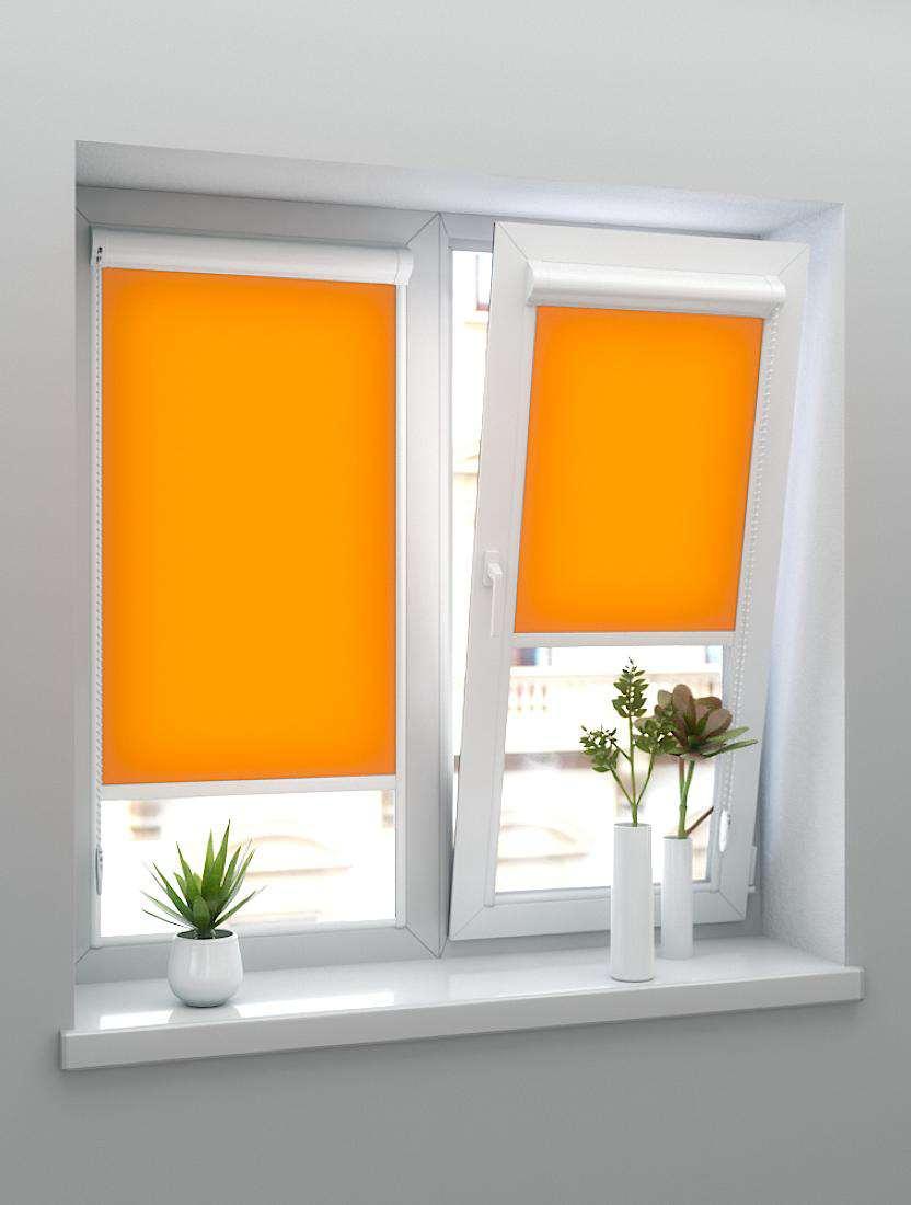 Рулонные тканевые жалюзи Уни-1 Альфа оранжевые
