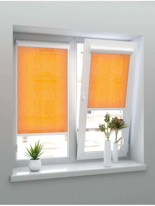 Рулонные тканевые жалюзи Уни-1 Ажур оранжевый