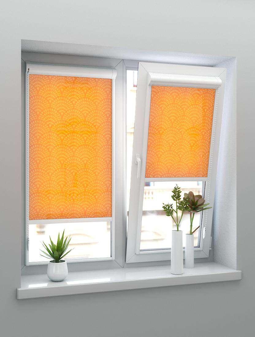 Рулонные тканевые жалюзи Уни-2 Ажур оранжевый