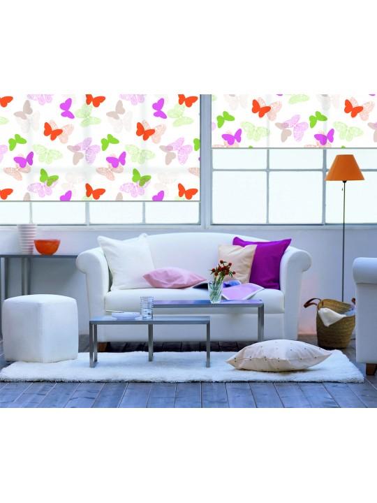 Рулонные жалюзи МИНИ Бабочки розовый