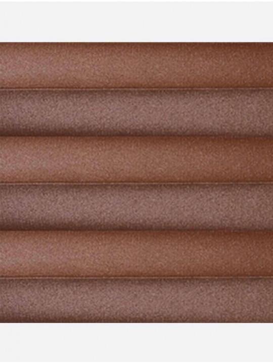 Штора плиссе тканевая Металлик блэкаут коричневый