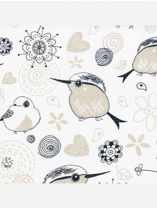 Минирулонные тканевые жалюзи Птички белый