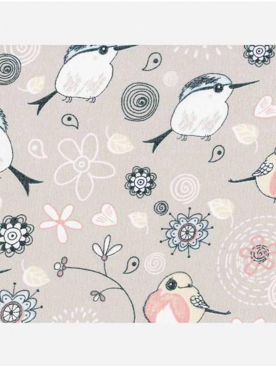 Минирулонные тканевые жалюзи Птички бежевый