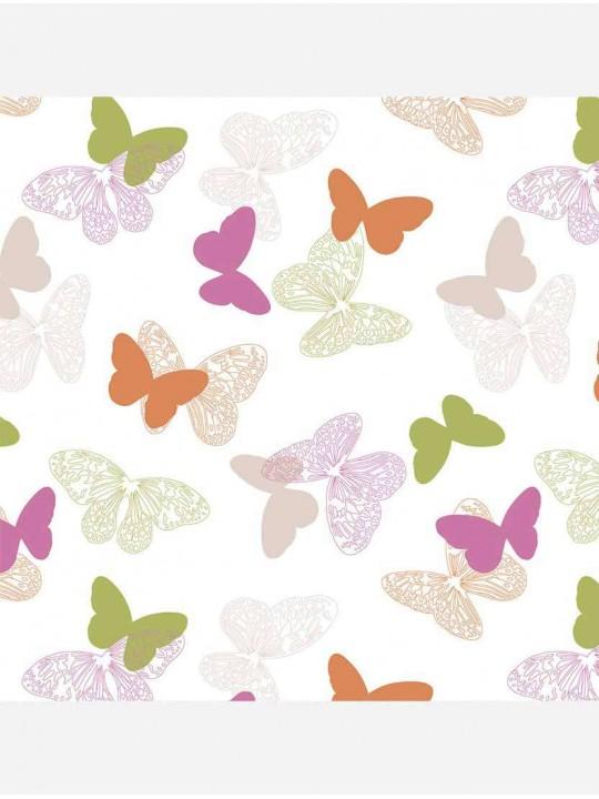 Рулонные тканевые жалюзи Уни-1 Бабочки розовый