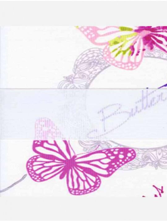 Рулонные жалюзи Зебра мини Бабочки розовый