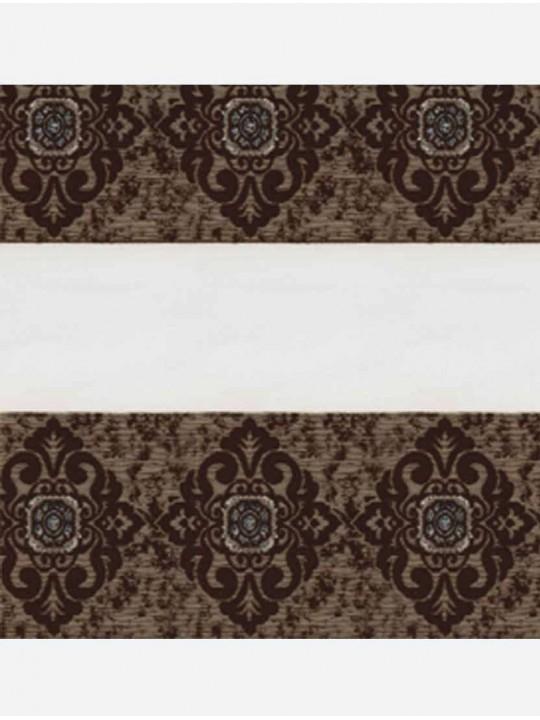 Рулонные жалюзи Зебра мини Дамаск коричневый