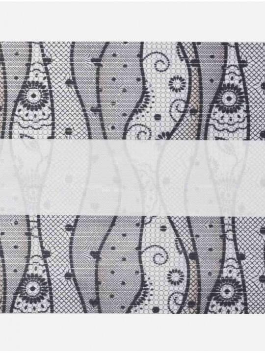 Рулонные жалюзи Зебра Уни-2 Кружево серый